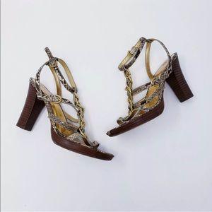 Coach Libertie snakeskin sandal heels